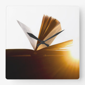 Open Book and Sunset Photography Square Wall Clock