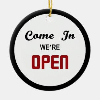 Open Closed Door Hanger Round Ceramic Decoration