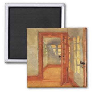 Open door sunny impressionist interior Anna Ancher Square Magnet