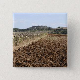 Open Field, Townscape in the Background, 15 Cm Square Badge