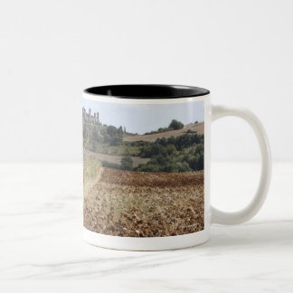 Open Field, Townscape in the Background, Two-Tone Coffee Mug