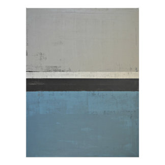 'Open' Grey and Teal Abstract Art Poster Print