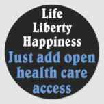 Open healthcare access 2 round stickers