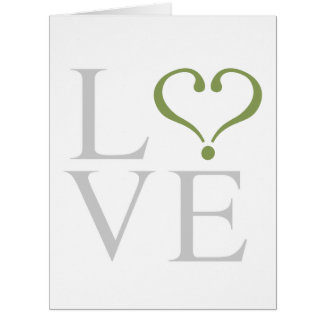 Open heart LOVE corazón abierto en gris y oliva Felicitación