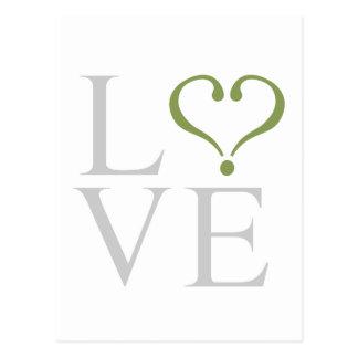 Open heart LOVE corazón abierto en gris y oliva Tarjetas Postales
