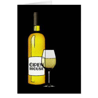open house announcement : halftone wine greeting card