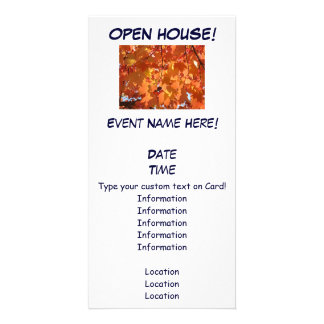 Open House Event invitations Orange Autumn Leaves Photo Greeting Card