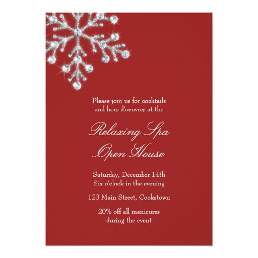 Open House Red Offset Crystal Snowflake Custom Invitation