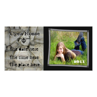 open house stone wall photo greeting card