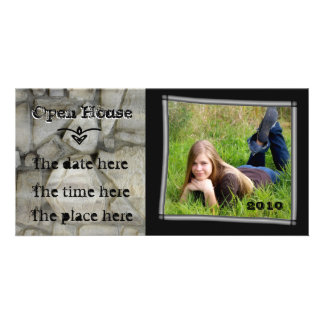 open house stone wall personalized photo card