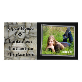 open house stone wall customized photo card