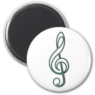 "Open ""Jade"" Green Treble Clef 6 Cm Round Magnet"