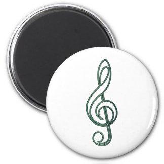 "Open ""Jade"" Green Treble Clef Fridge Magnet"