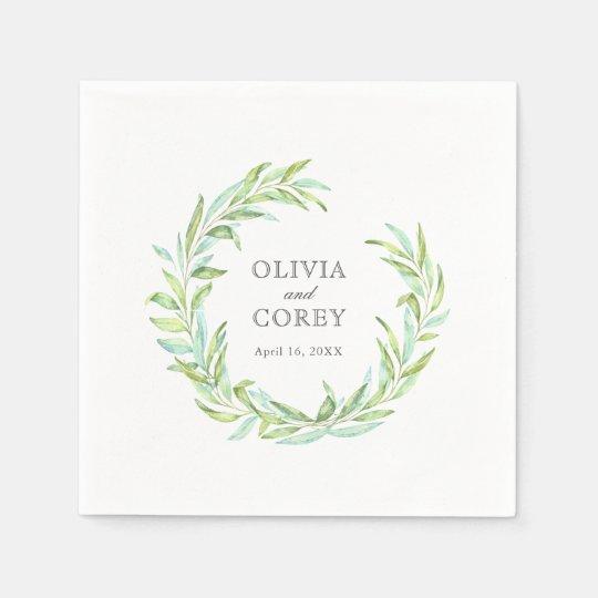 Open Laurel Wreath Wedding Disposable Napkins