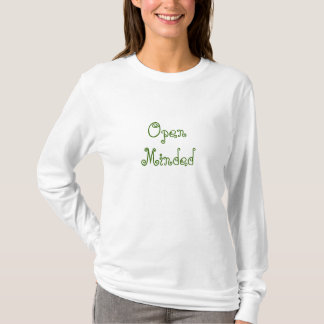 Open Minded. Green Swirly Text. T-Shirt