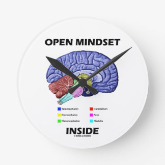 Open Mindset Inside (Anatomical Brain) Round Clock