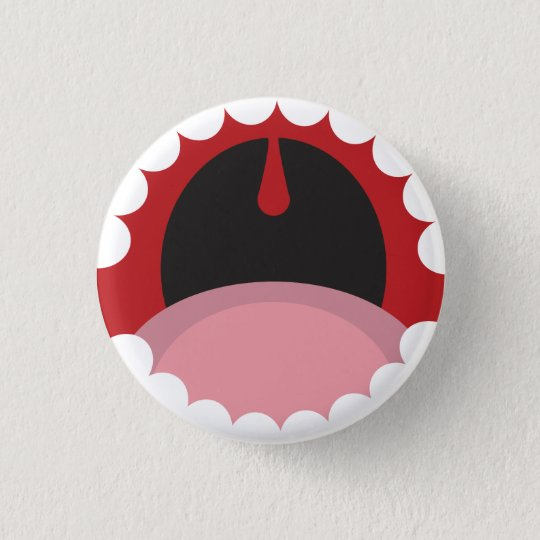 Open mouth 3 cm round badge