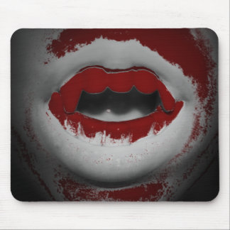 Open Mouth Bloody Vampire Fangs Mouse Pad