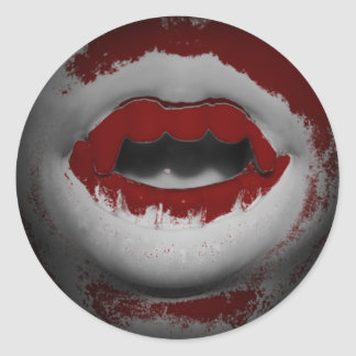 Open Mouth Bloody Vampire Fangs Round Sticker
