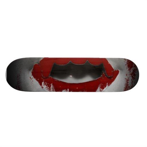 Open Mouth Bloody Vampire Fangs Skate Board