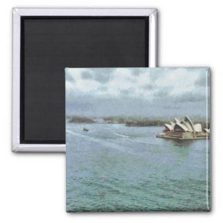 Open ocean in front of Sydney Opera House Square Magnet