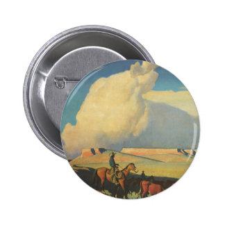 Open Range by Maynard Dixon, Vintage Cowboys 6 Cm Round Badge