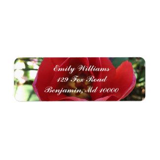 Open Red Rose Return Address Label