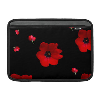 Open Red Tulips on Black Sleeve MacBook Sleeve