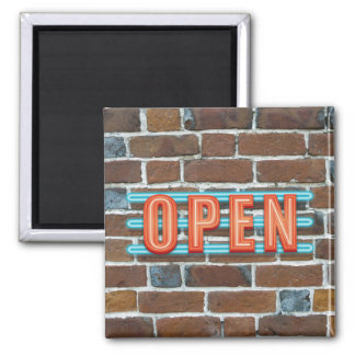 OPEN SIGN SQUARE MAGNET