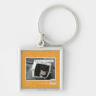 Open the door Silver-Colored square key ring