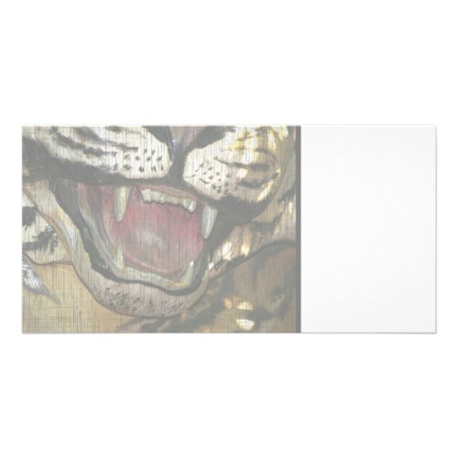 Open tiger mouth statue faded image custom photo card