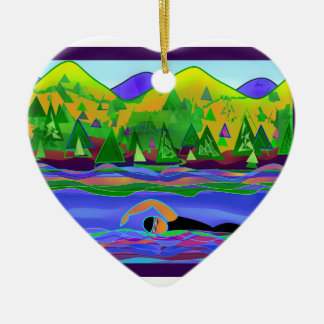 Open Water Solo Ceramic Heart Decoration