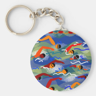 OPEN WATER Swim Basic Round Button Key Ring