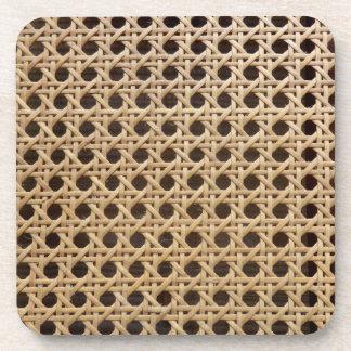 Open Weave Rattan Cane Hard Plastic Coasters