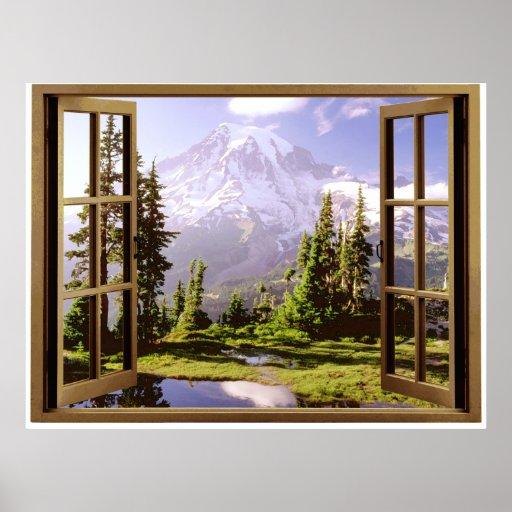 Open Window at Mt. Rainier Poster