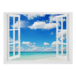 Open Window at the Beach Poster