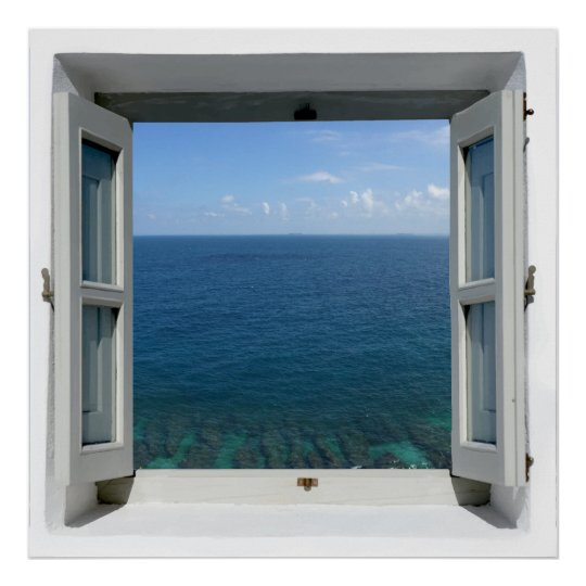 Open Window Blue Ocean Sea View Poster