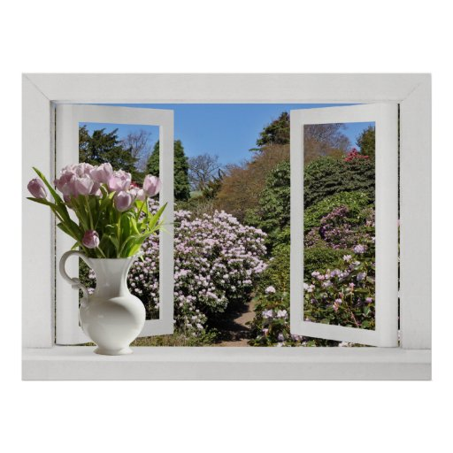 Open Window onto Garden with Pink Tulips Poster