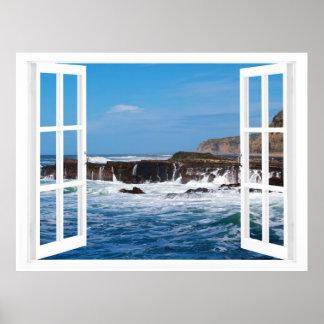 Open Window Seaside Escape Poster