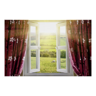 Open window with countryside view and sunlight str poster