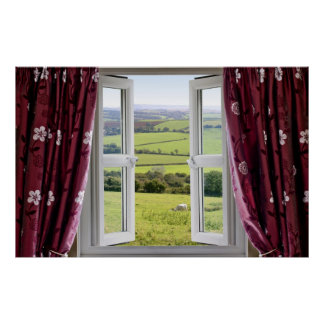 Open window with view across and English countrysi Poster