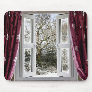 Open window with view to a snowy winter scene mouse pad