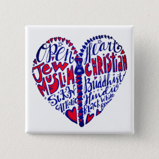 Open Your Heart to All People 15 Cm Square Badge