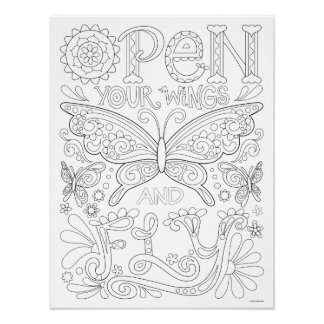 Open Your Wings and Fly Coloring Poster