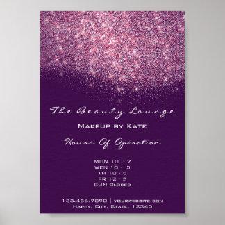 Opening Hours Beauty Makeup Studio Purple Pink Gli Poster
