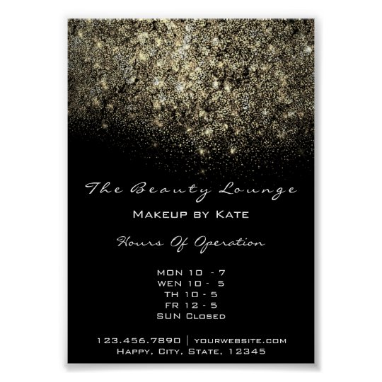 Opening Hours Gold Black White Confetti Sequin Poster