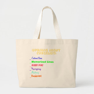 Opening Night Checklist Jumbo Tote Bag