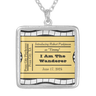 Opening Night Ticket Credits Square Pendant Necklace