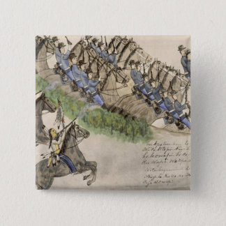 Opening of the Battle of the Little Big Horn (ink 15 Cm Square Badge