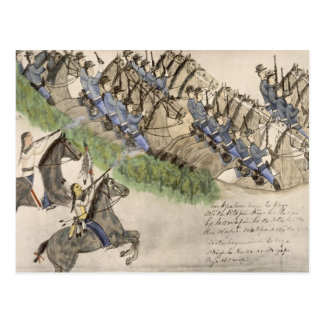 Opening of the Battle of the Little Big Horn (ink Postcard
